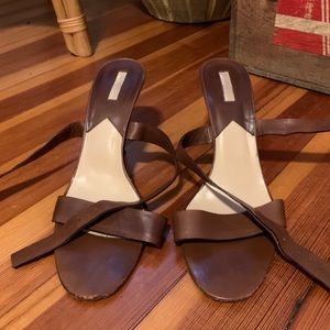 Michael Kors brown leather strapped heals